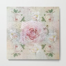 Romantic vintage roses and French handwriting Metal Print