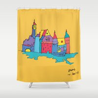 europe Shower Curtains featuring europe by PINT GRAPHICS