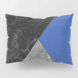 Black and White Marbles and Pantone Lapis Blue Color Pillow Sham