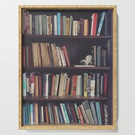 The Bookshelf in the Library, portrait, filtered Serving Tray
