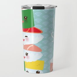 I love sushi. Kawaii funny sushi set with pink cheeks and big eyes, emoji. Blue japanese pattern Travel Mug