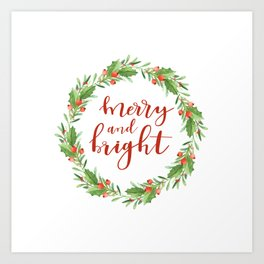 Christmas wreath-merry and bright Art Print