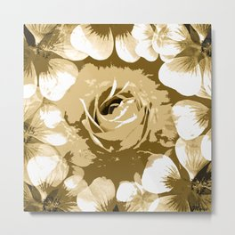 Roses Antique White Metal Print