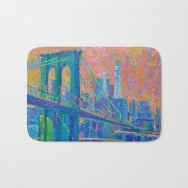 """Brooklyn Bridge"" palette knife urban city landscape painting by Adriana Dziuba Bath Mat"