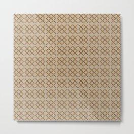 Copper Linen Geometric Dots Pattern Metal Print