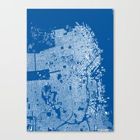 san francisco map Canvas Prints featuring San Francisco Map by Maps Factory