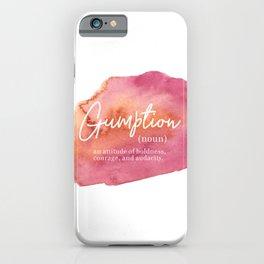Gumption Definition - Word Nerd - Pink Watercolor iPhone Case