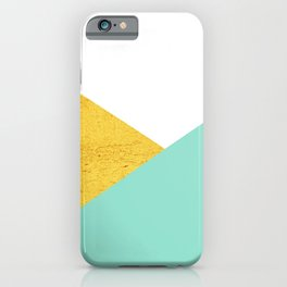 Gold & Aqua Blue Geometry iPhone Case