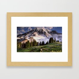 Oil Painting of Mount Rainier Framed Art Print
