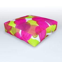 Watercolor Circles - Pink & Lime Green Outdoor Floor Cushion