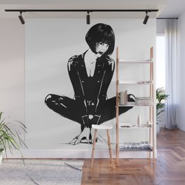 Yoga Women Superhero Wearing Black Latex Suit Wall Mural