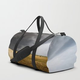 Spinning Gold - Storm Over Hay Bales in Kansas Field Duffle Bag