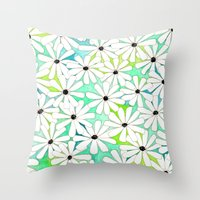 daisies Throw Pillows featuring Daisies by messy bed studio