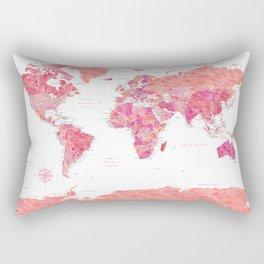 Highly detailed watercolor world map with Antarctica, Tatiana Rectangular Pillow