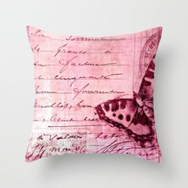 pink postage Throw Pillow