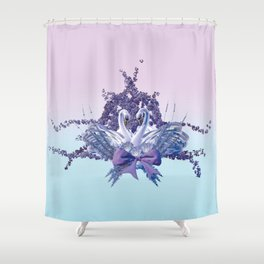 romantic swan couple Shower Curtain