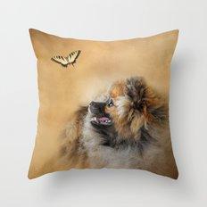Butterfly Dreams - Pomeranian Throw Pillow