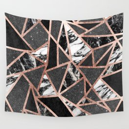 Modern Rose Gold Glitter Marble Geometric Triangle Wall Tapestry