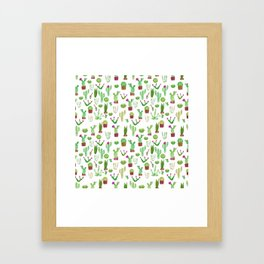 Seamless watercolor cactuses pattern Framed Art Print