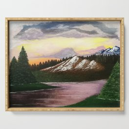 Bob Ross Reproduction   Mountains Serving Tray