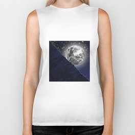 Moonlight on the enchanted forest Biker Tank