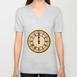 Big Ben Midnight Clock Face Unisex V-Neck