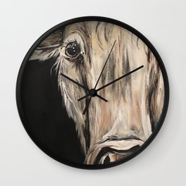 Cozy Cow in the Night Wall Clock