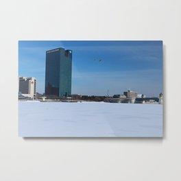 Toledo Fifth Third Bank Downtown in Winter Metal Print