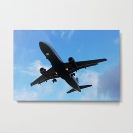 Airliner Dusk Landing Metal Print
