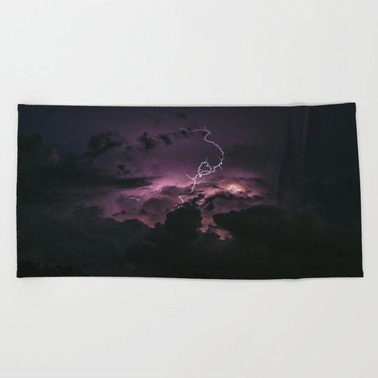 Purple lightning #stars Beach Towel