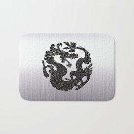 Black Oriental Dragon on Silver Bath Mat