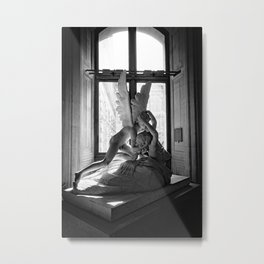 Psyche Revived by Cupid's Kiss, Louvre Museum, Paris, France black and white photograph Metal Print