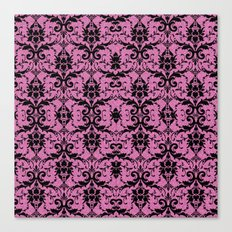 Black Damask and Pink Glitters Canvas Print