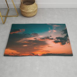 Colorful Pink Orange Turquoise Sunset Clouds Ombre Gradient Rug