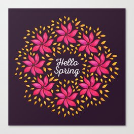 Hello Spring Watercolor Flowers Wreath Canvas Print