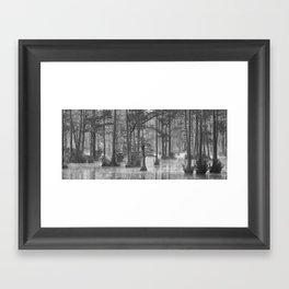 Adams Mill Pond Panorama 11 B&W Framed Art Print