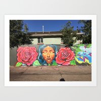 Roses and Face Art Print