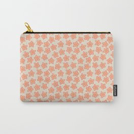Peach and Cream Floral Pattern Carry-All Pouch