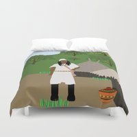 colombia Duvet Covers featuring Indian tribe Kogi of Colombia  by Design4u Studio