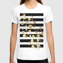 Faux Gold Paint Splatter on Black & White Stripes T-shirt