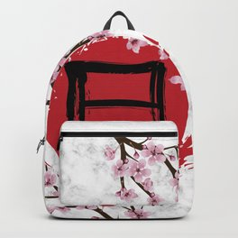 Blooming Sakura and red Sun Backpack