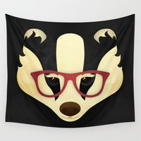 badger Wall Tapestries featuring Hipster Badger by Compassion Collective