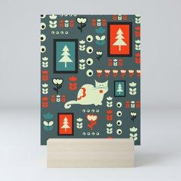 White cat and holiday decor Mini Art Print