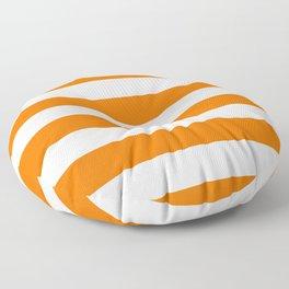Bright Tumeric Orange and White Wide Horizontal Cabana Tent Stripe Floor Pillow