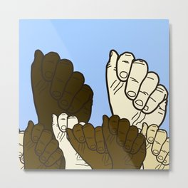Fists are in the air of people from many different ethnic backgrounds Metal Print