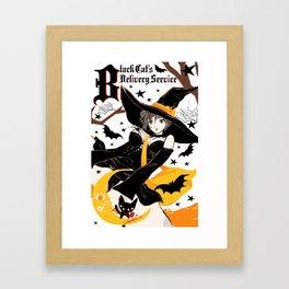 Black Cat's Delivery Service Framed Art Print
