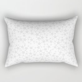 Block Print Silver-Gray and White Stars Pattern Rectangular Pillow