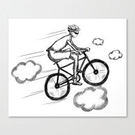 Biking in the Clouds Canvas Print