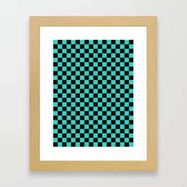 Black and Turquoise Checkerboard Framed Art Print