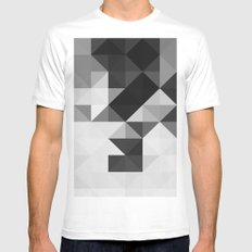 Triangle Pattern White Mens Fitted Tee MEDIUM